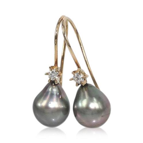 14 kt. Perle øreringe med Tahiti Perler og brillanter