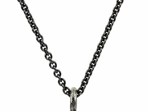 Sølv oxyderet halskæde - rund ankerkæde