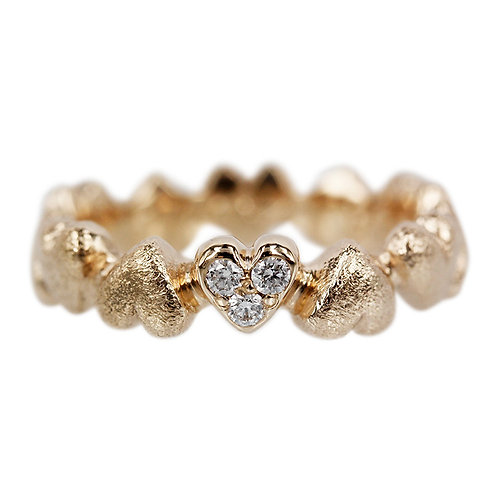Love - 14 kt hjerte ring med brillanter