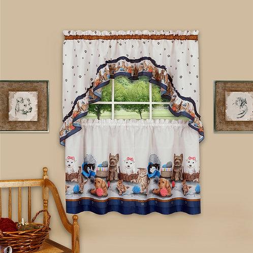 Precious Printed Tier and Swag Window Curtain Set
