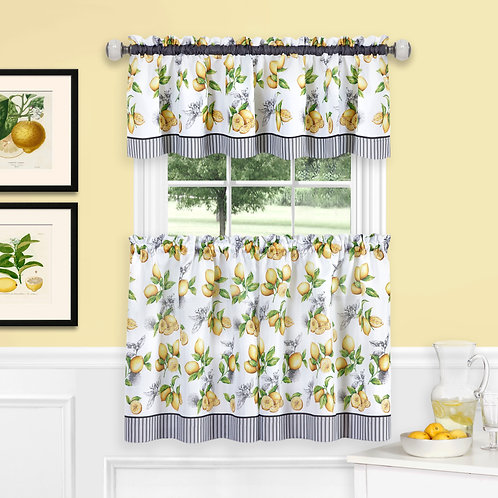 Lemon Drop Tier and Valance Window Curtain Set