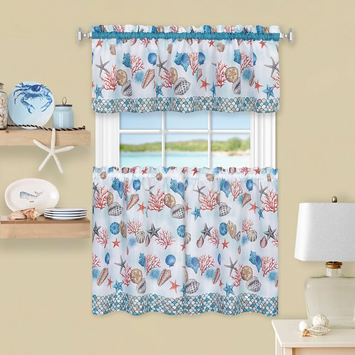 Coastal Tier and Valance Window Curtain Set