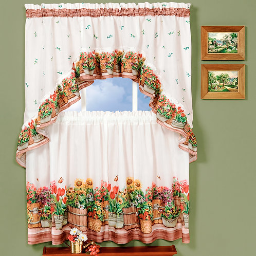 Country Garden - Printed Tier and Swag Window Curtain Set