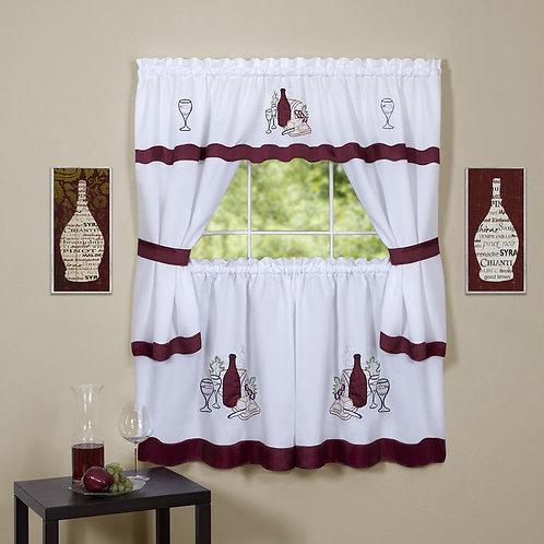 Cabernet Embellished Cottage Window Curtain Set