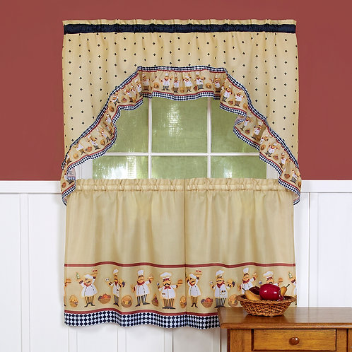 Cucina - Printed Tier and Swag Window Curtain Set
