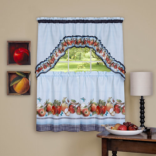 Golden Delicious - Printed Tier & Swag Window Curtain Set
