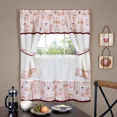Cappuccino Embellished Cottage Window Curtain Set