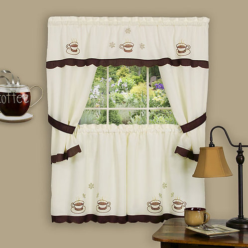Cuppa Joe Embellished Cottage Window Curtain Set