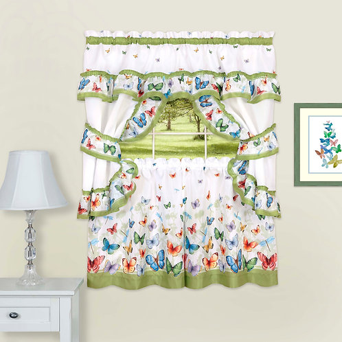 Butterflies Printed Cottage Window Curtain Set -