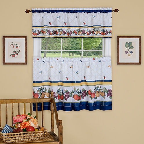 Fruity Tiles Tier and Valance Window Curtain Set
