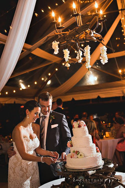 Simple Tent Draping, Bistro Lighting and  Wrought Iron Chandelier
