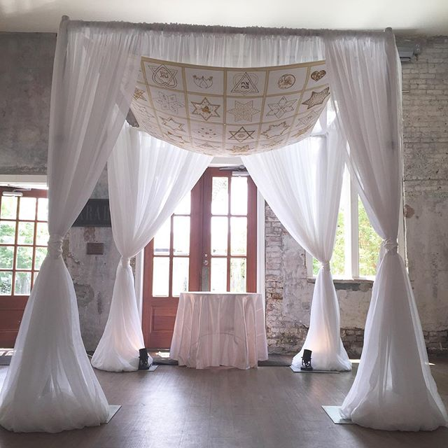 Gorgeous ceremony chuppah adorned with a handmade Jewish tapestry! #pensacolaweddings #weddingwalls