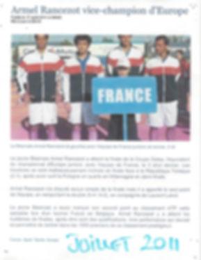 Armel Vice Champion d'europe par equipe formé au tennis études de l'Academie Pau Pyrenées