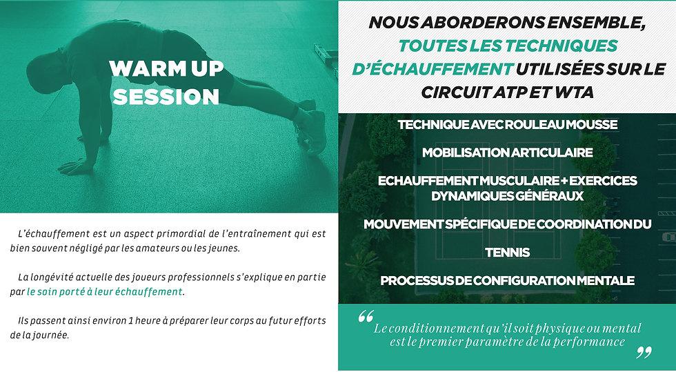 tennis études - programme warm up