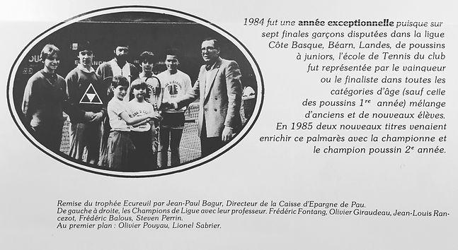 Elèves du Tennis Etudes de l'Academie Pau Pyrénées 1984