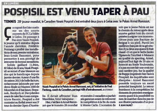 POSPISIL Vasek et Armel RANCEZOT à l'Académie Pau Pyrénées