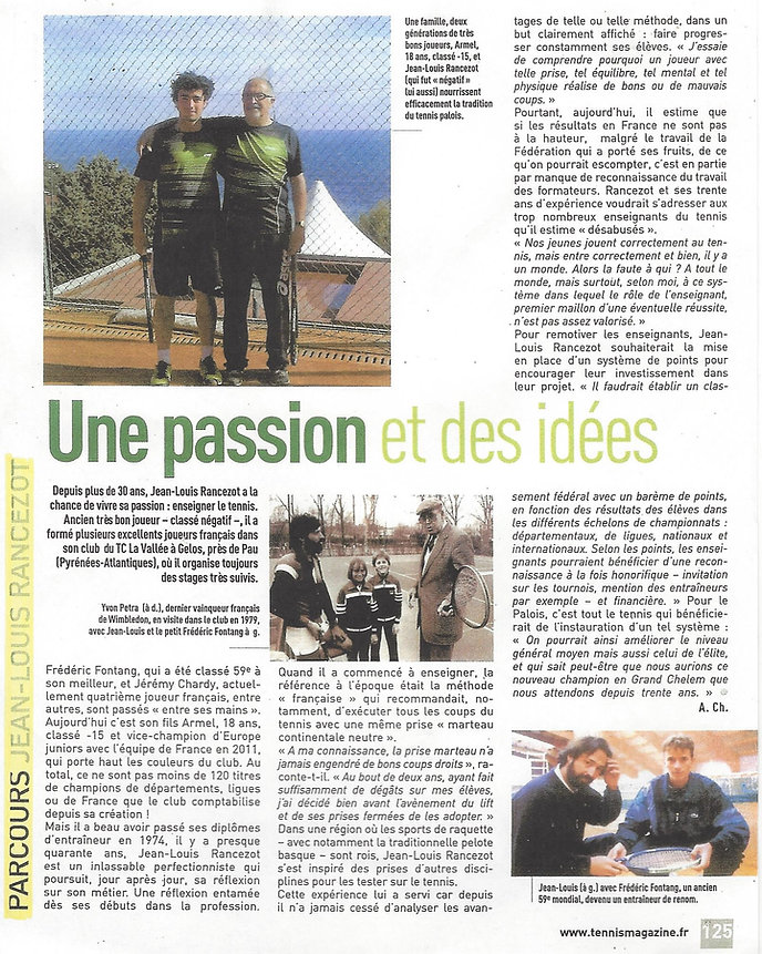 Armel et Jean Louis Rancezot Tennis Etudes Académie Pau Pyrénées