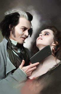 Digital painting of Sweeny Todd and Mrs. Lovett
