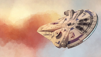Digital painting of Millennium Falcon owned by Lando in Solo