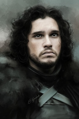 Digital painting of Jon Snow from Game of Thrones