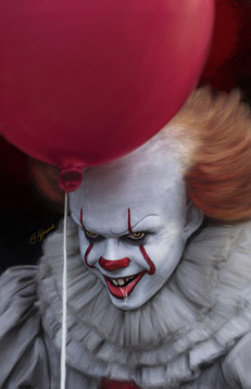 Digital painting of 2017 Pennywise from Stephen King's IT