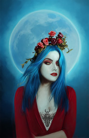 Digital painting of blue haired woman in front of blue full moon
