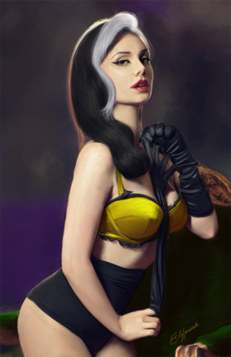 Digital painting of Pin Up version of Rogue from Marvel X-Men