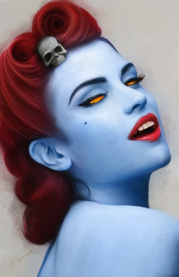 Digital painting of Pin Up Mystique from X-Men