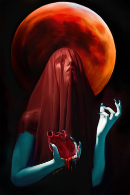 Digital painting of shrouded woman with bloody heart in hand