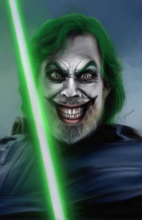 Digital painting of Mark Hamil as Luke Skywalker as the Joker