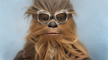 Digital painting of Chewbacca from Star Wars in snow goggles