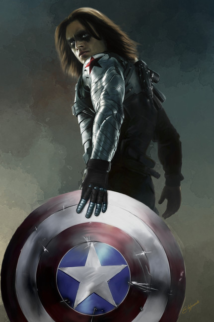 Digital painting of Marvel's Winter Soldier holding Captain America's shield