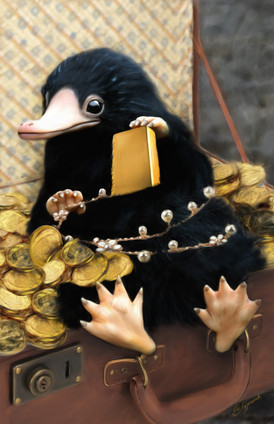 Digital painting of Niffler from Fantastic Beasts covered in gold