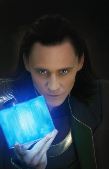 Digital painting of Loki with tesseract from Marvel Thor