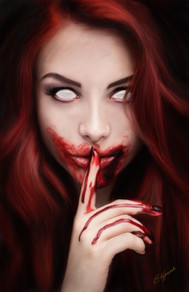 Digital painting of red head demon woman with blood on her lips