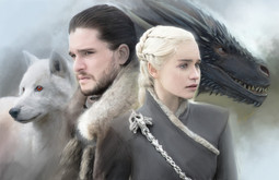 Digital painting of Jon Snow and Daenerys Targaryen with Ghost and Drogon