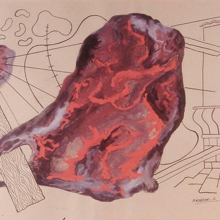 Astratto cosmico in rosso