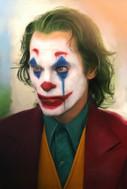 Digital painting of Joaquin Phoenix in 2019 Joker