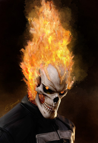 Digital painting of Ghost Rider