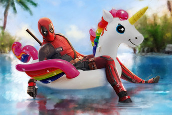 Digital painting of Marvel's Deadpool on a unicorn floaty