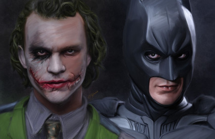Digital painting of Batman and Joker from Christopher Nolan's Dark Knight