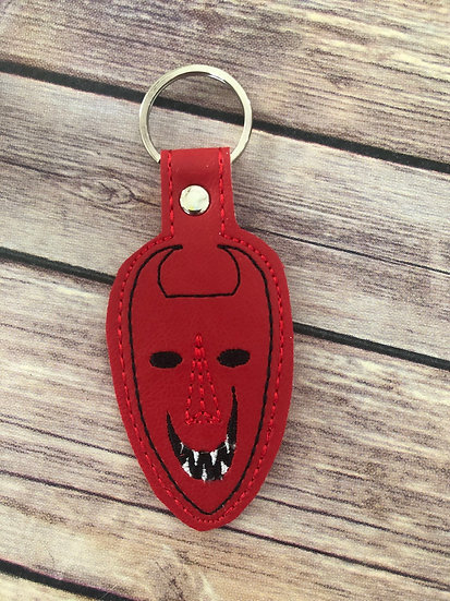 Lock Mask on red Embroidered Key Chain