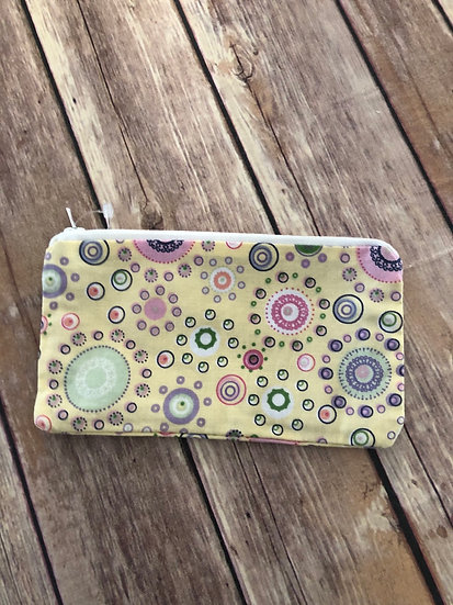 Pastel Circles on Yellow themed Zipper Pouch - Ready to Ship