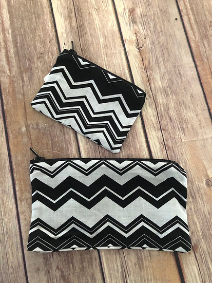 Navy and White Chevron themed Zipper Pouch - Ready to Ship