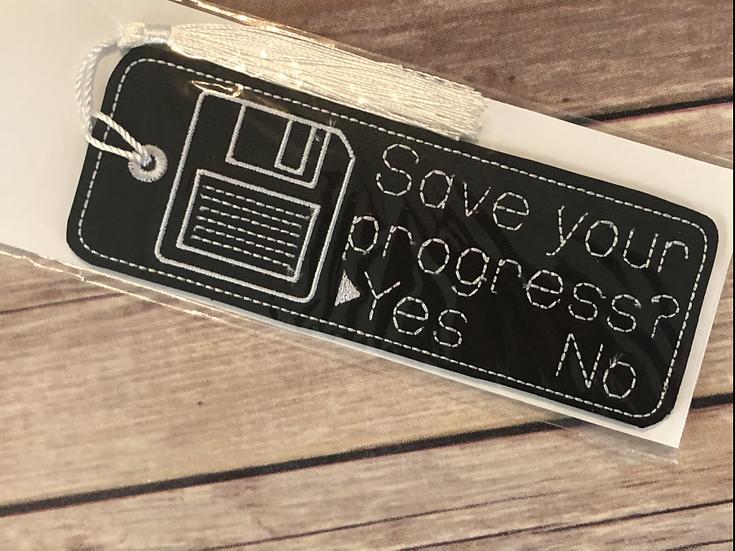 Save Your Progress Floppy Disk Vinyl Bookmark - Ready to Ship