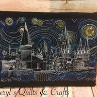 Van Gogh Starry Castle - Embroidered Wall Art - Made to Order