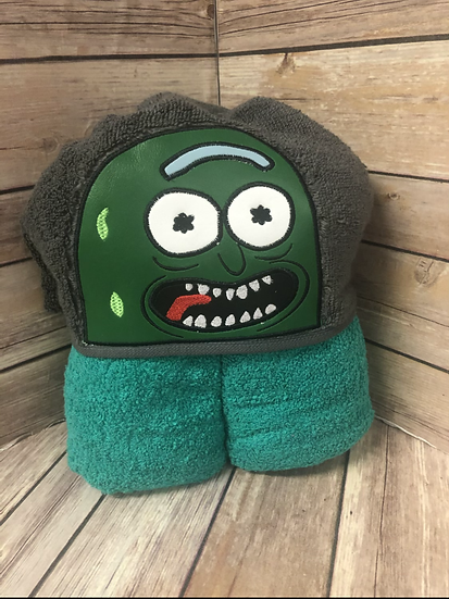 Pickle Rick Child Size Hooded Towel - Ready to Ship