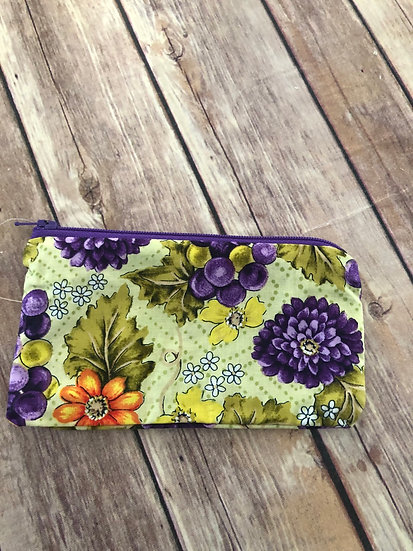 Flowers and grapes themed Zipper Pouch - Ready to Ship
