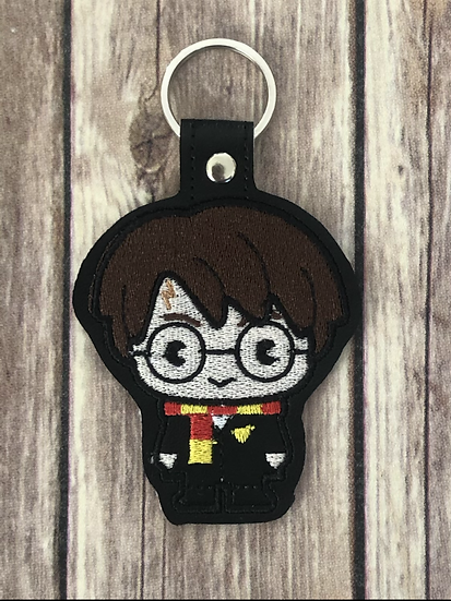 Wizard Boy Spell Academy Student Chibi Embroidered Key Chain