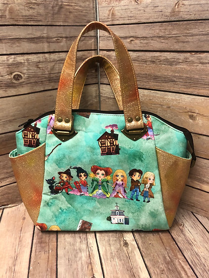 Hocus Pocus Satchel Handbag with Rainbow Vinyl and zippers - Made to O